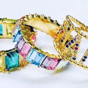 14K Gold Rainbow Sparkle Eternity Band